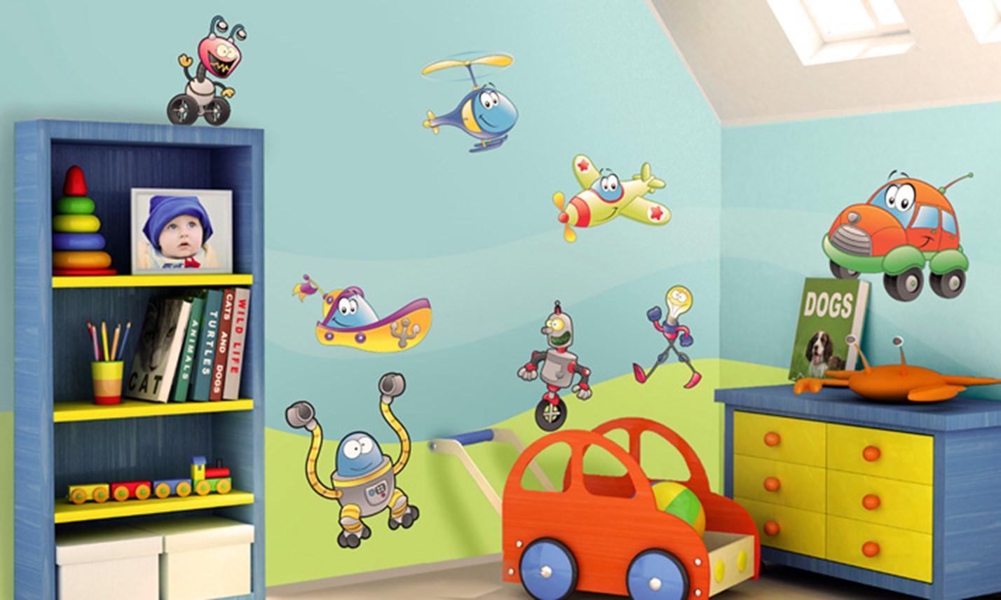Stickers murali bambini cameretta robot e macchinine - Decorazioni murali camerette ...